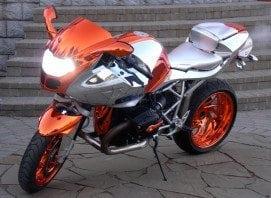 orange chrome bike