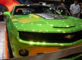 Green Chrome Camaro at SEMA 2015