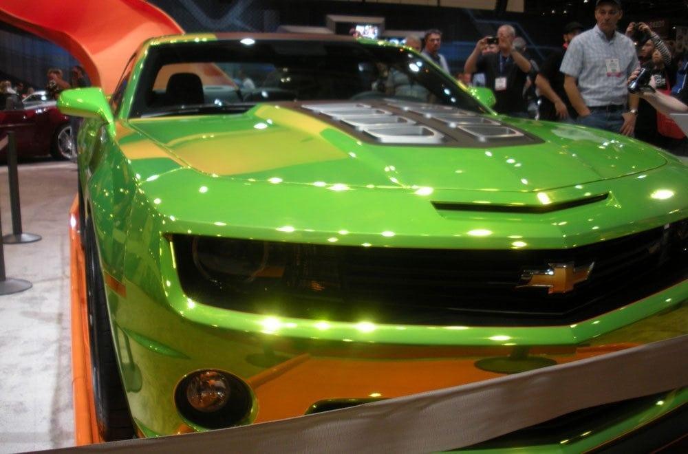 Green Chrome Camaro at SEMA 2015