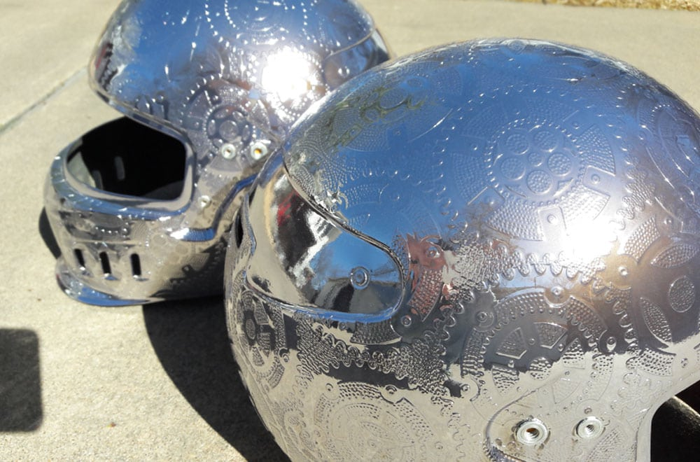 Chrome Engraved Racing Helmets