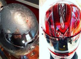 Racing Helmet Chrome Engraving