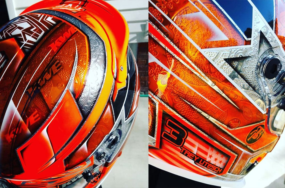 Orange Helmet Chrome Engraving 2