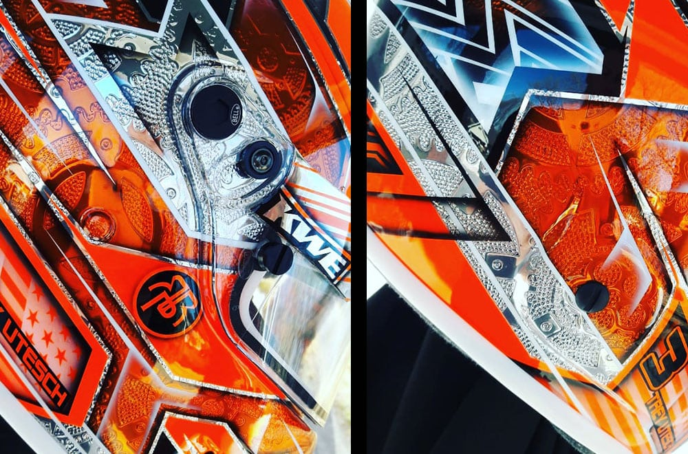 Orange Helmet Chrome Engraving 1