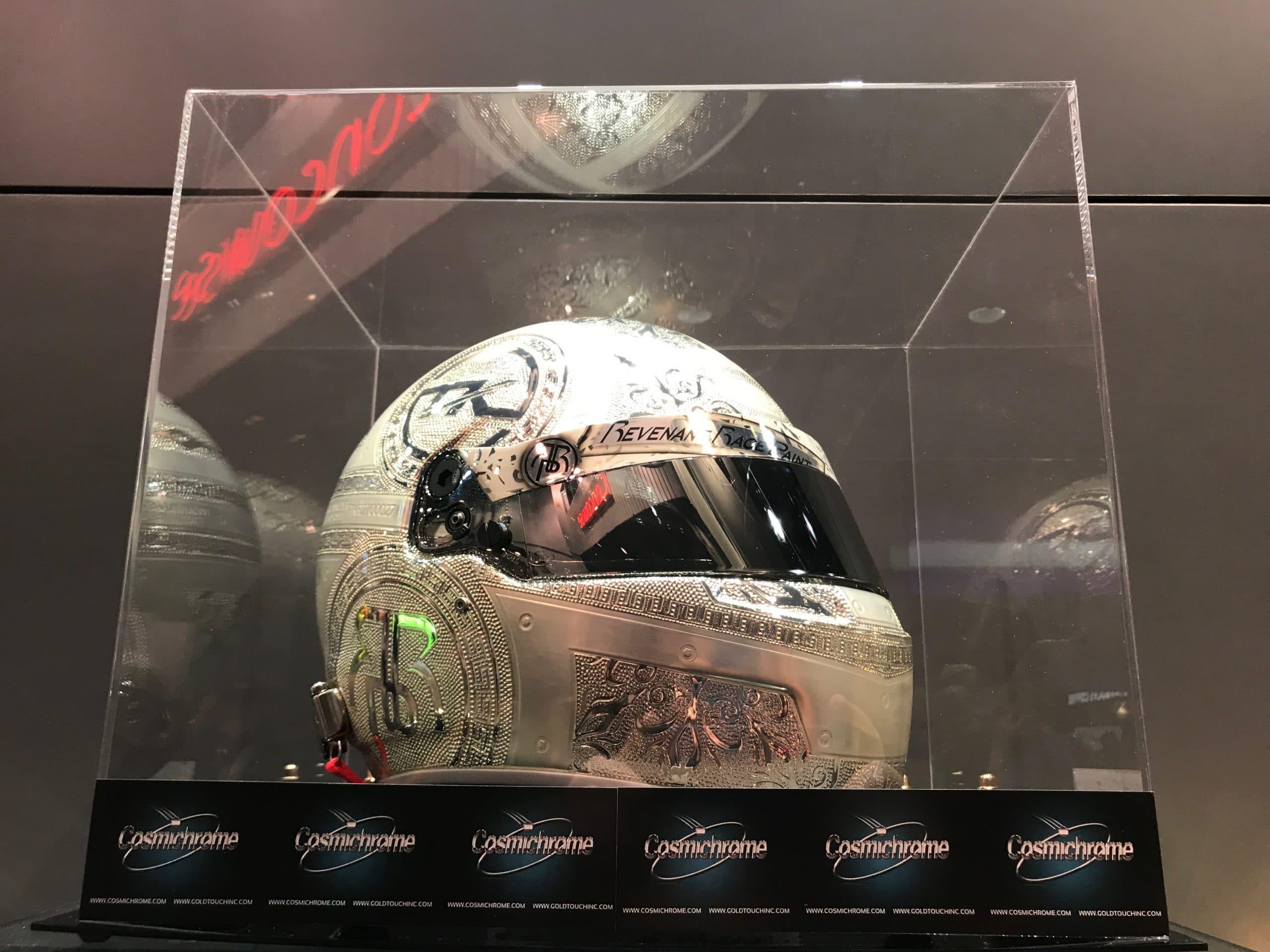 Embossed chrome racing helmet