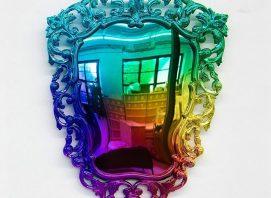 Multicolored chrome mirror