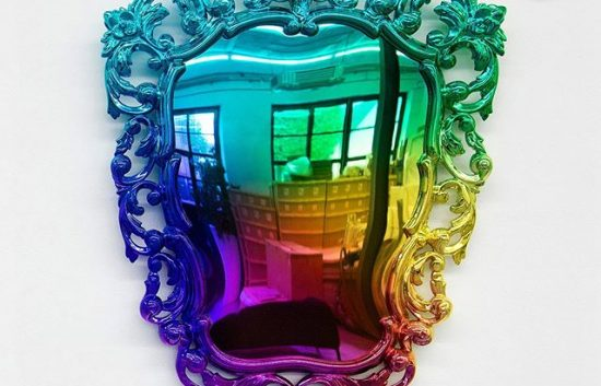 Multicolored chrome mirror