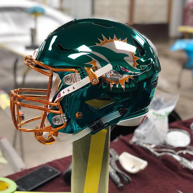 Miami Dolphins chromed helmet